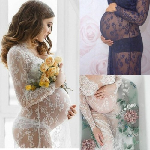 Maternity Photography Props Pregnancy Clothes Lace Maternity Gown Dress Fancy Shooting Photo Summer Pregnant Dress