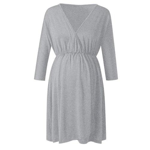 Casual Maternity Dresses Pregnancy Dress Summer Women Maternity Fashion V Neck Five Point Sleeve Leisure Dress
