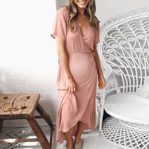 2021 Women maternity dresses Fashion Solid Short Sleeve V-Neck pregnant dress New Summer pregnancy dress