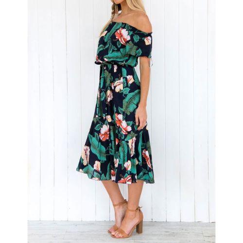 Womens Sexy Off Shoulder Short Sleeve Flowy Midi Long Dress Boho Tropical Floral Print Lace Up High Waist Pleated Beach Sundress