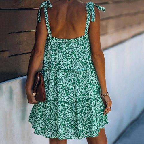 Women A line Dress beach Sleeveless Swing Party Mini Dress 2021 summer Autumn Casual flowers Plus Size Sundress