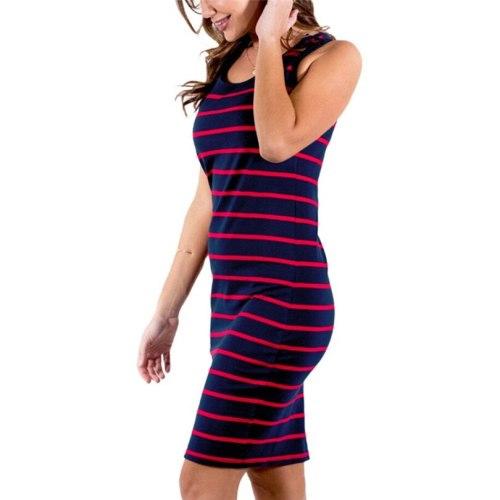 Women Maternity dresses Stripe Sleeveless Sundress Pregnancy Dress