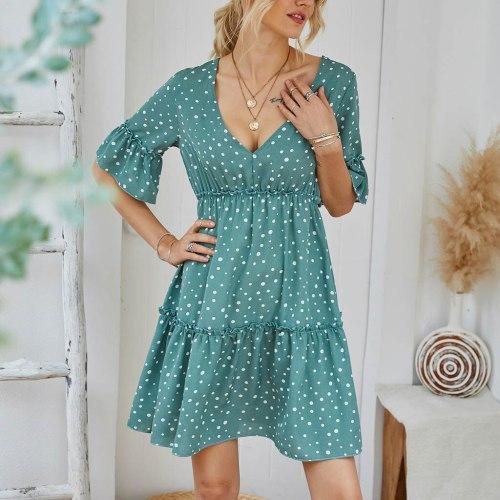Women New Summer Dress 2021 Casual Ruffles Sleeves V-neck Dot Boho Party Mini Dresses