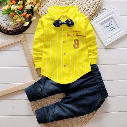 Boys Clothes Suit Number 8 Long Sleeve Shirt Jeans 2-piece Set Striped Top Pants Children's Clothing Set For Baby