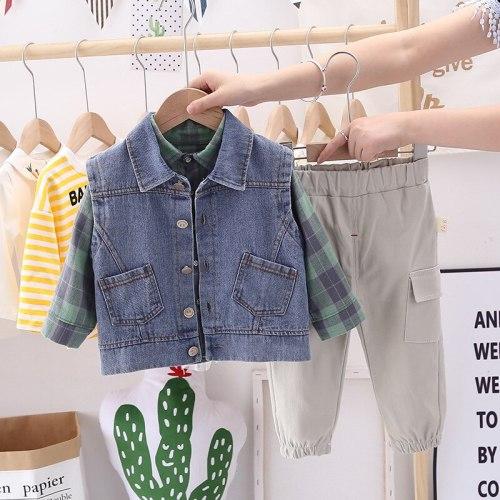 2021 Spring Boy Baby Clothing Sets Kids Clothes Denim Vest Plaid Shirt Pants Set
