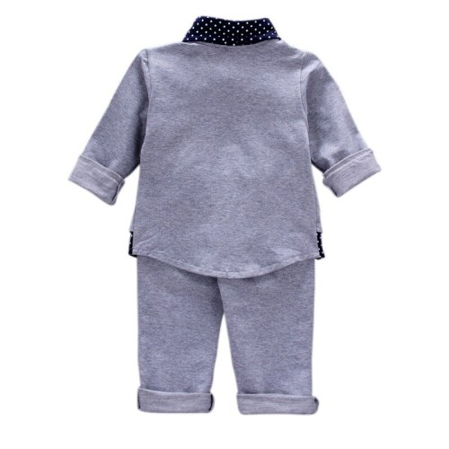 Autumn Spring Baby Boy Clothes Set Fake Two Pieces Long Sleeve Dot Print Blouse Tops Trousers