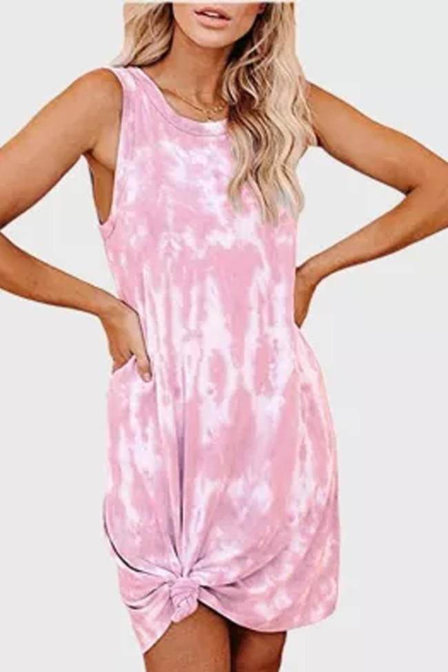Sexy Tie Dye Mini Sleeveless Summer Mini Dress Casual Dresses