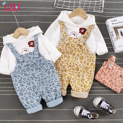 2021 Hooded Long Sleeves Spring Clothes For Kids Cute Sweater Overalls 2Pcs Outfit For Children Boys Sets
