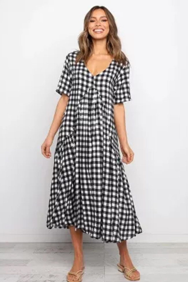 Summer Vintage Rockabilly Pin Up Clothing Plaid Loose V Neck Woman Casual Dress