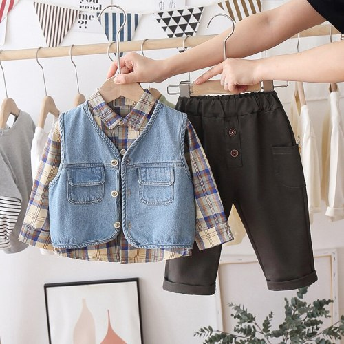 Baby Boys Clothing Sets 2021 Spring Denim Vest Plaid Shirt Pants Toddler Infant Casual Clothes