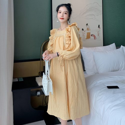 Maternity Autumn Fashion Loose Dress Long-sleeved Ruffles Square Collar Lace Patchwork Pregnant Women Cotton Dress