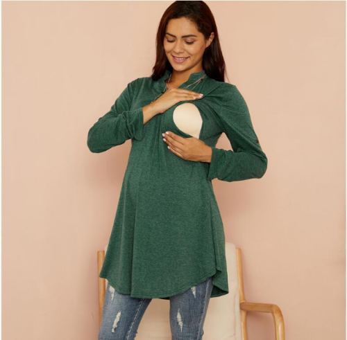 2021 New Style Maternity Green Breastfeeding Blouse