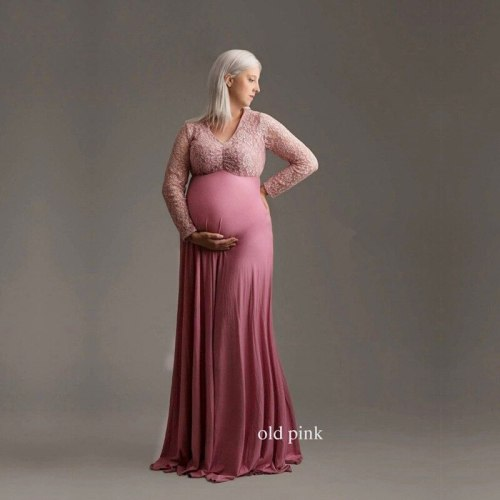 Maternity Photography Props Pregnancy Lace Dress For Photo Shooting Off Shoulder Pregnant Dresses For Women Maxi Maternity Gown