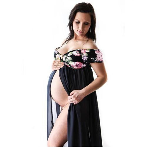 Maternity Photography Dresses Women Pregnancy V Collar Dress  Summer Short Sleeve Stitching Print Sundress Maxi Gown