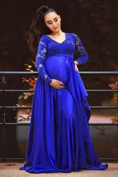 New Lace Chiffon Maternity Photography Long Dress Cute Pregnancy Dresses  Pregnant Women Maxi Gown