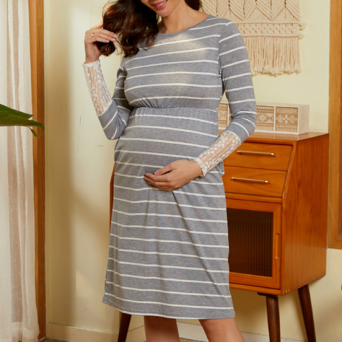 2021 Summer Striped Lce  Sleeve Maternity Dress
