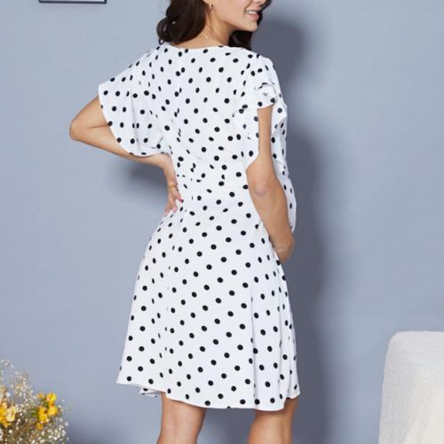 2021 Polka Dot Maternity Ruffle Sleeve Mini Dress