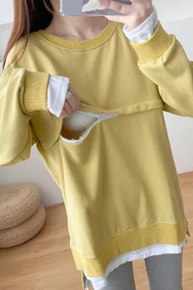 Solid Color Cotton O-neck Breastfeeding Sweaters