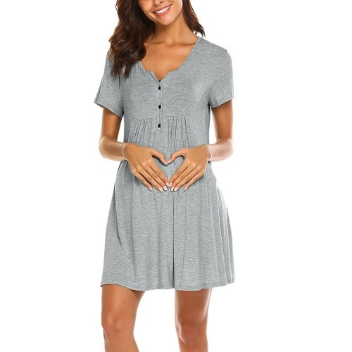 Pregnancy Dress Maternity Short Sleeve O-neck Nursing Dresses for Breastfeeding Summer Solid Mini Maternal Pregnancy Dress