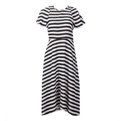 Women Summer fashion casual Striped Long Maxi Beach Dress ladeis short sleeve slim asymmetrical Long Sundress