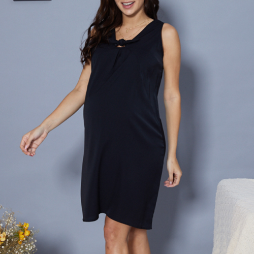 2021 Maternity Mother Sleeveless Over Knee Solid Color Mini Dress