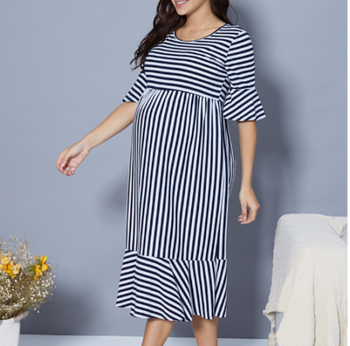 2021 Maternity women pregnant Striped Short sleeve maternity Dress