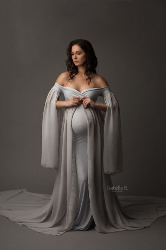 Sexy V neck Pregnancy Dresses Maternity Shoot Dress Photography Pregnant Women Maxi Maternity Gown