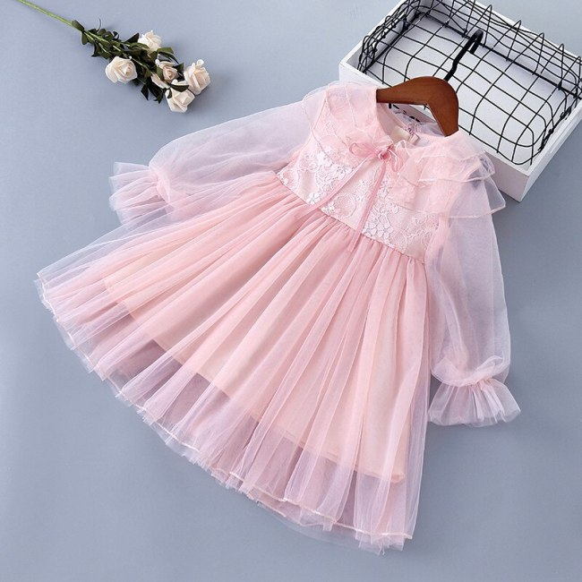 Spring New Girls Sweet Gauze Lace Bow Embroidery Princess Dress Children Party Dress