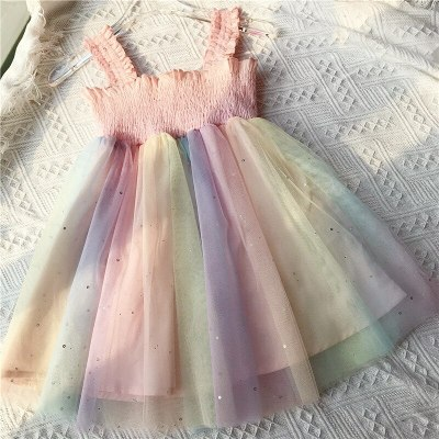 Girls Dress Rainbow Crumpled Mesh Suspender Princess Party Dress 2021 Summer New Fashion Baby Kids Children'S Clothing