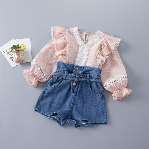 2021 New Fashion Casual Pink Solid Shirt + Jeans Kid Children Girls Clothing