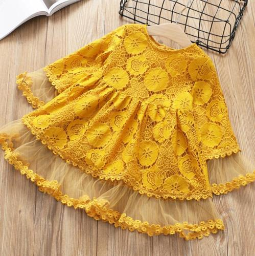 Girl Lace mesh dress Spring Autumn children long sleeves flower princess party dress