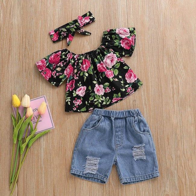 Toddler Baby Girl Off Shoulder Floral Print Tops+Hole Denim Jean Shorts Outfits princess costume toddler girls outfit set