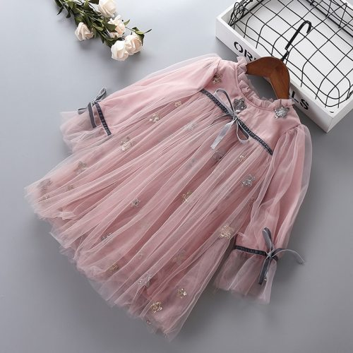 2021 new autumn lace mesh chiffon flower kid children clothing girls party princess dress