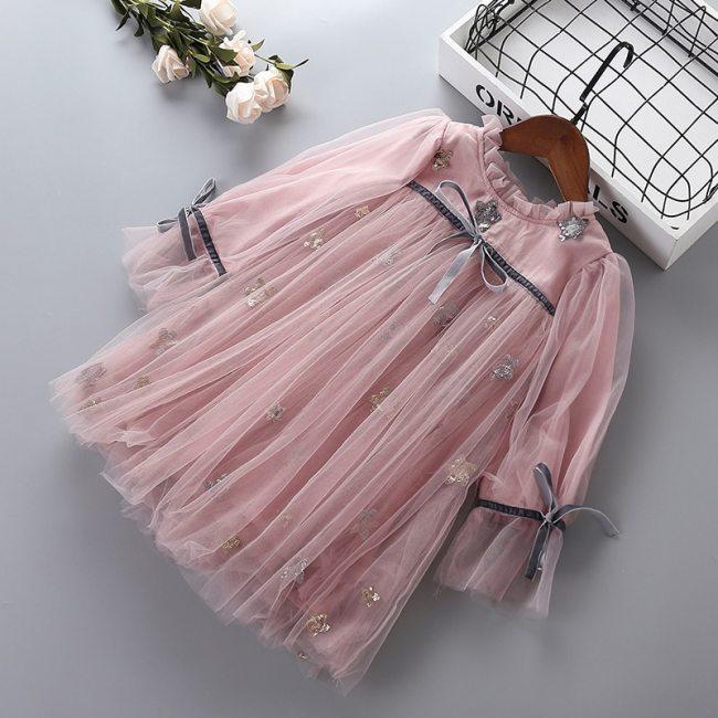 2021 new autumn lace mesh chiffon flower kid children clothing girls party princess dress