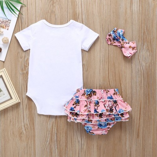 Summer Newborn Baby Girl Clothes Set Solid Color Short Sleeve Romper Flower Short Pants Headband 3Pcs Infant Outfits