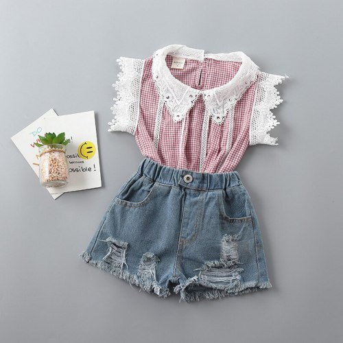 2021 new summer casual Dot bow kid children girl clothing shirt+denim pant 2pcs