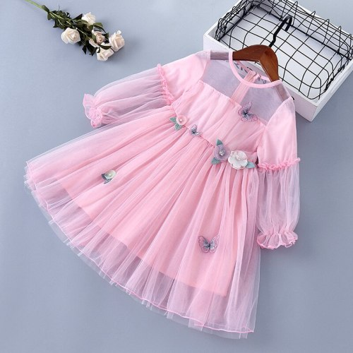 2021 new lace Chiffon flower draped ruched kid children clothing girl princess dress