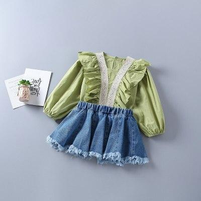 2021 new autumn fashion tiered ruched shirt + denim skirt kid children clothes