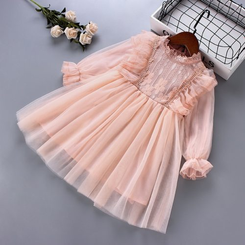 2021 spring new fashion lace Chiffon draped ruched kid children clothing girl princess dress