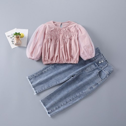 2021 New Fashion Casual Cute Solid Shirt + Jeans Kid Children Girls Clothing