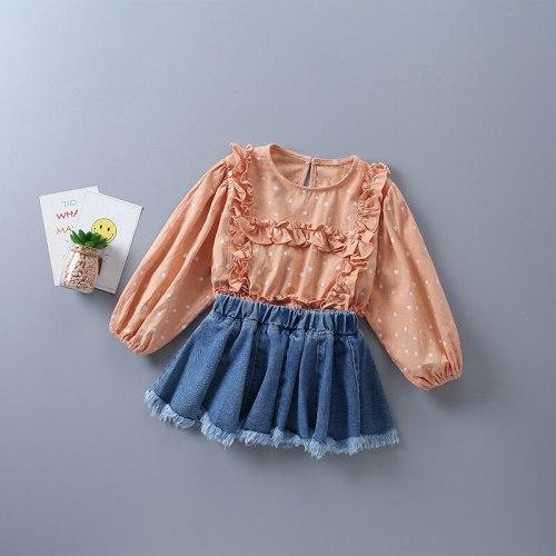 2021 new autumn fashion orange white polka dot shirt + denim skirt kid children clothes