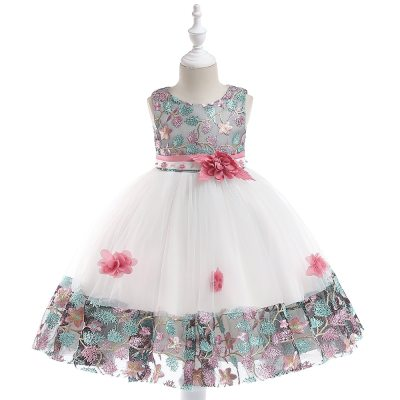Retail Girl Elegant Flower Birthday Party Dress Children Girl Dress For 3-8 Years Kids Girl Wedding Dress Princess