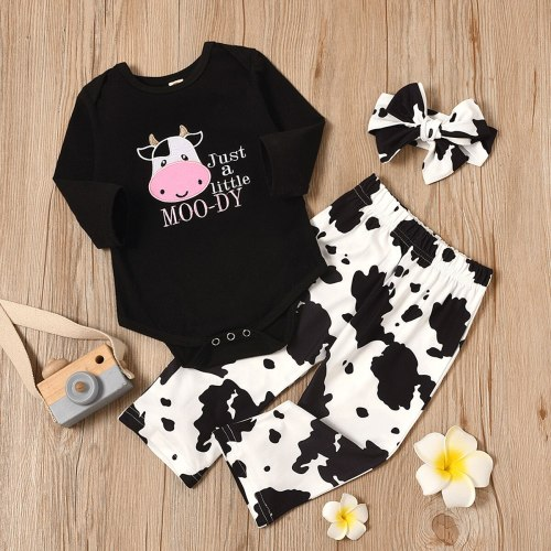 Newborn Infant Baby Girls Cartoon Clothes Cow Letter Romper Tops+ Pants + Headband Sets Infantil Casual Clothing Outfit Set