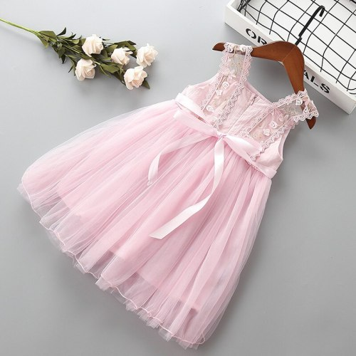 2021 new summer bow flower Embroidery kid children girl clothing party formal princess dress