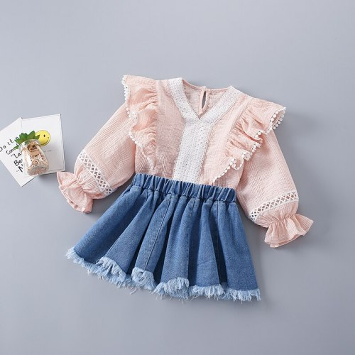 2021 New Fashion Pink Solid Shirt + Denim Skirts Kid Children Girls Clothing