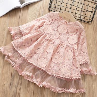 Girl Lace mesh dress Spring Autumn children long sleeves flower princess party dress