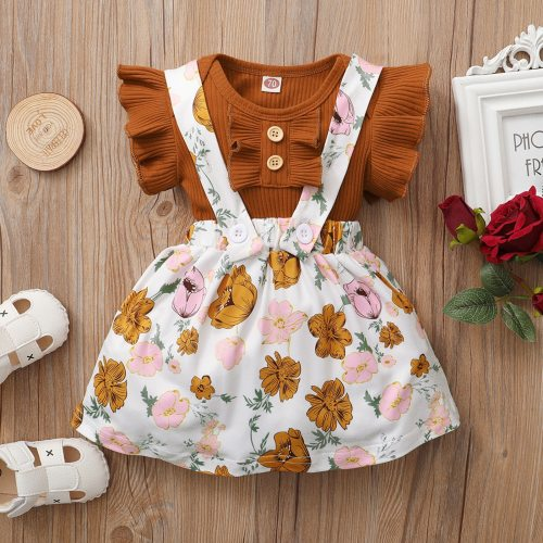 Newborn Baby Girl Solid Ruffled Romper Bodysuit+Floral Print Suspender Skirt Set