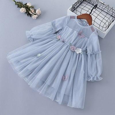 2021 new lace Chiffon flower draped ruched kid children clothing girl princess dress