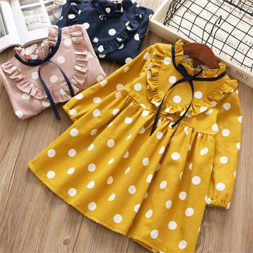Spring cartoon casual full sleeves Dot kid children girls clothing princess dress