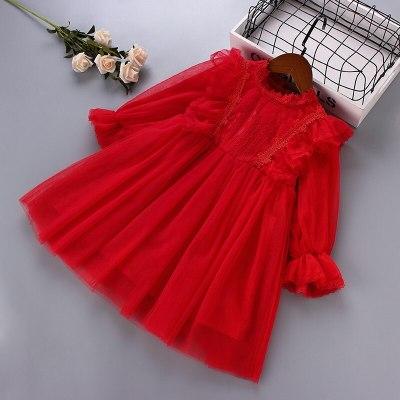 2021 spring new fashion lace Chiffon draped ruched kid children clothing girl princess dress
